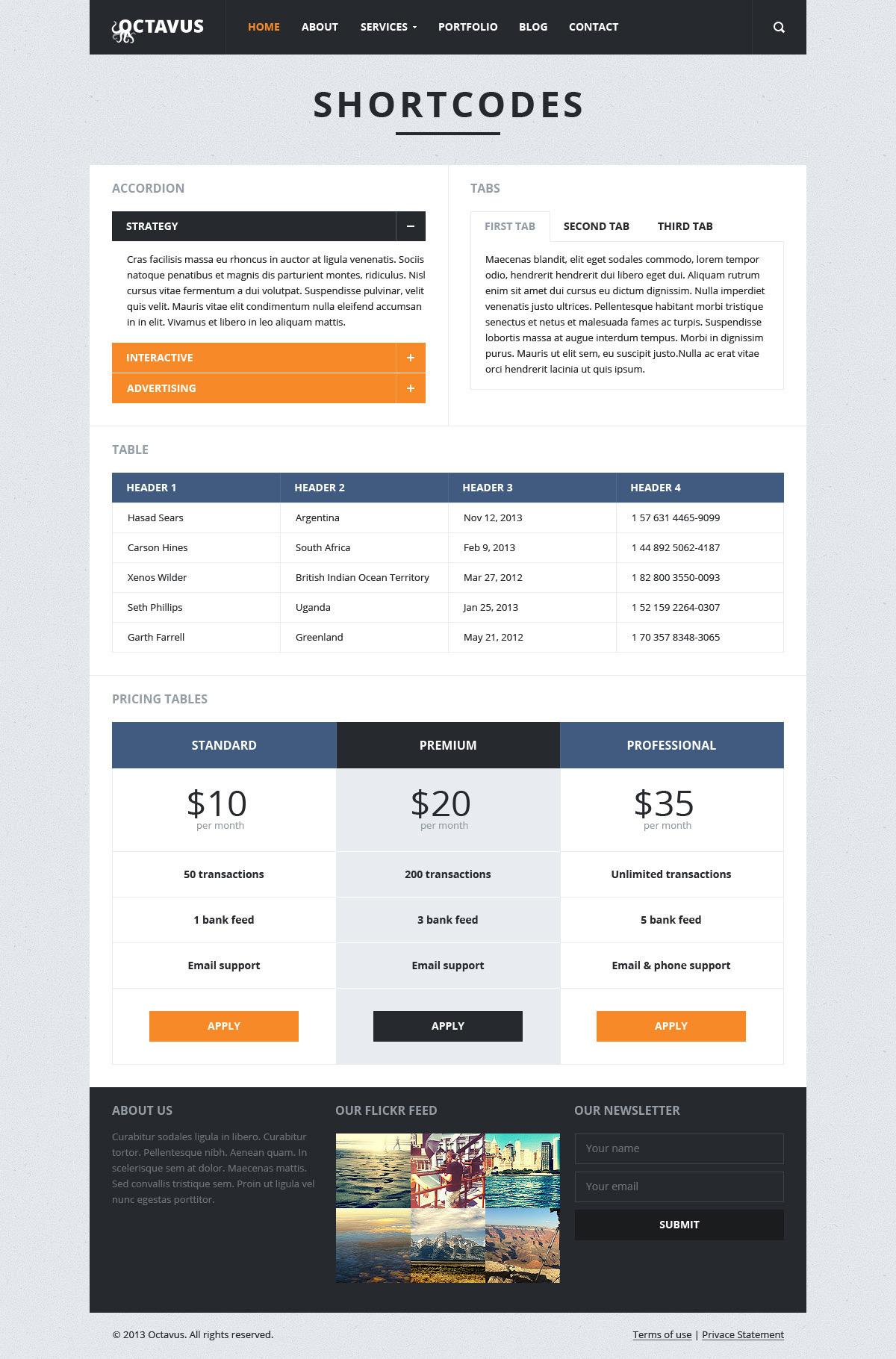 Octavus Responsive Portfolio WP Theme