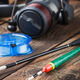 fishing tackle on a wooden table - PhotoDune Item for Sale