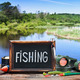 fishing tackle and a blackboard - PhotoDune Item for Sale