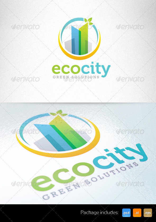 Eco Green City Sustainable Development Logo - Buildings Logo Templates