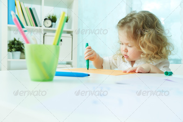 Diligent cutie - Stock Photo - Images