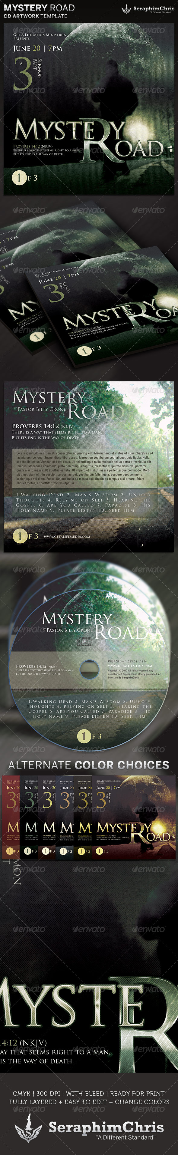 Mystery Road CD Cover Artwork Template - CD & DVD artwork Print Templates