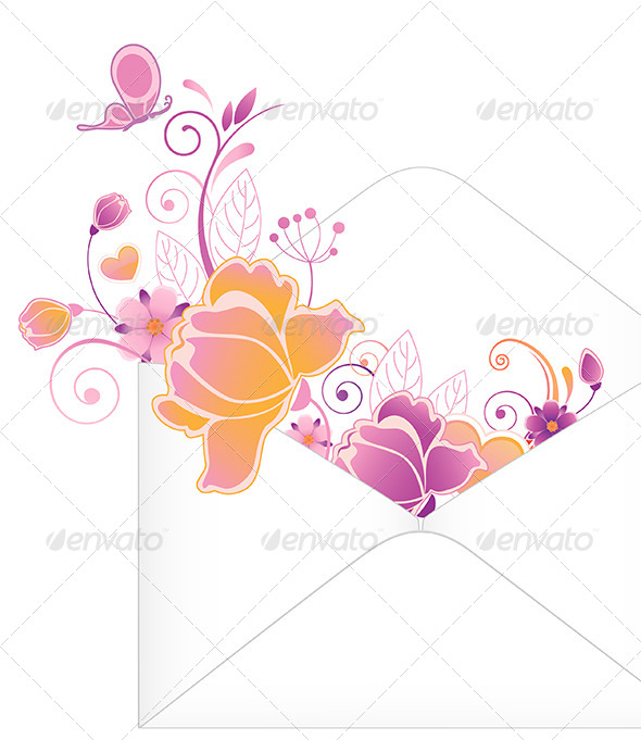 GraphicRiver Envelope with Flowers 4742014