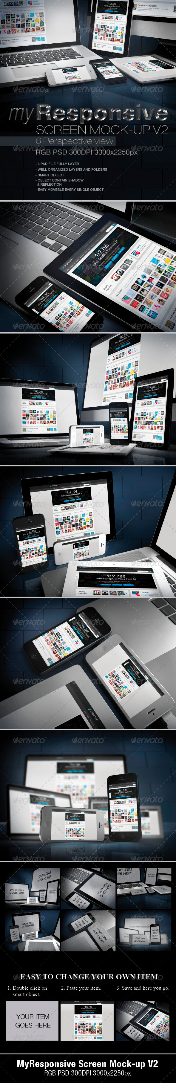 GraphicRiver myResponsive screen mock-up V2 4742033