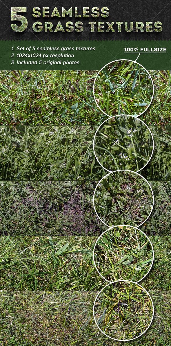 GraphicRiver 5 Seamless Grass Textures 4742034