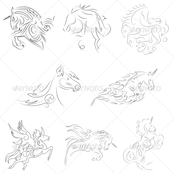 GraphicRiver Abstract Pegasus Animal Designs Vector Pack 4742481