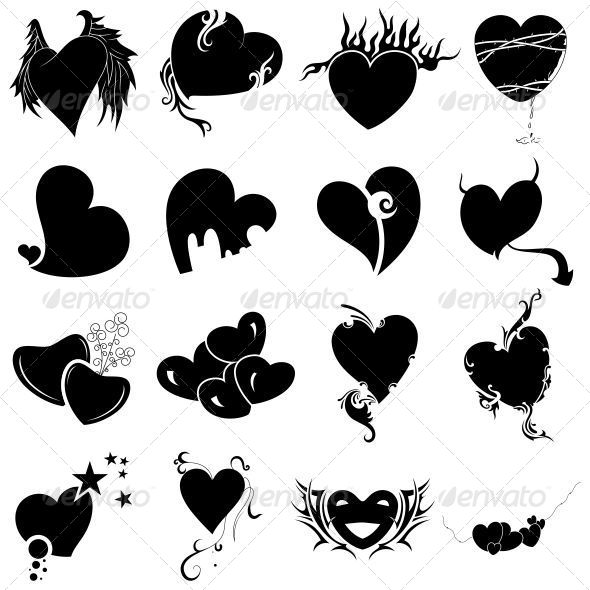 GraphicRiver Tribal Heart Tattoo Designs Vector Pack 4743643