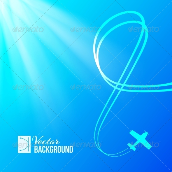 GraphicRiver Airplane on Blue Background 4743645