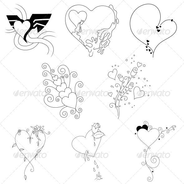 GraphicRiver Creative Heart Valentines Elements Vector Pack 4743701