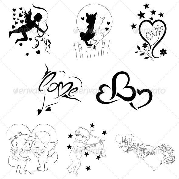 GraphicRiver Creative Heart Elements Vector Pack 4743751