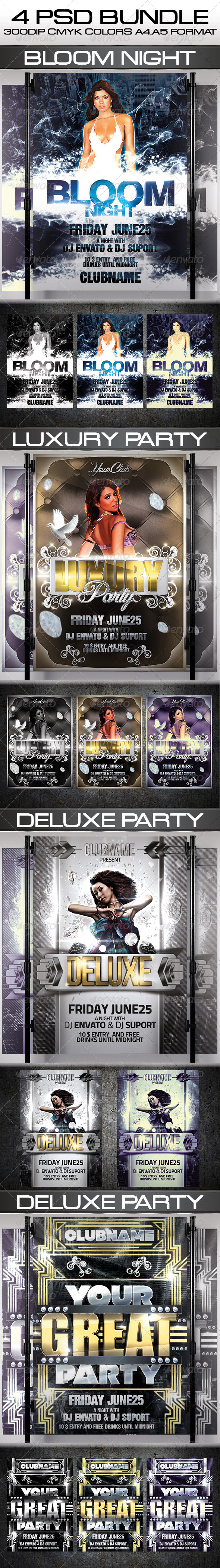 GraphicRiver Party Flyer Bundle 4744425