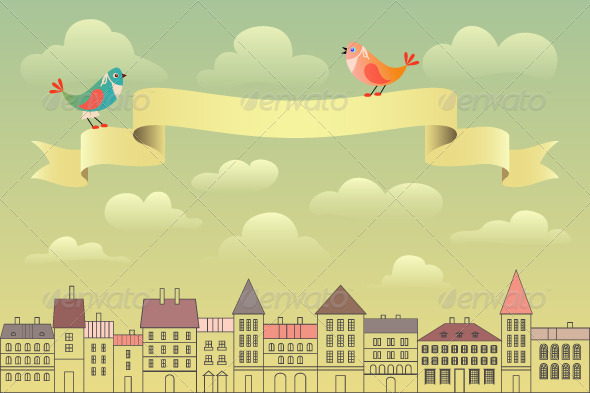 GraphicRiver European Cityscape with Ribbon Banner 4744432