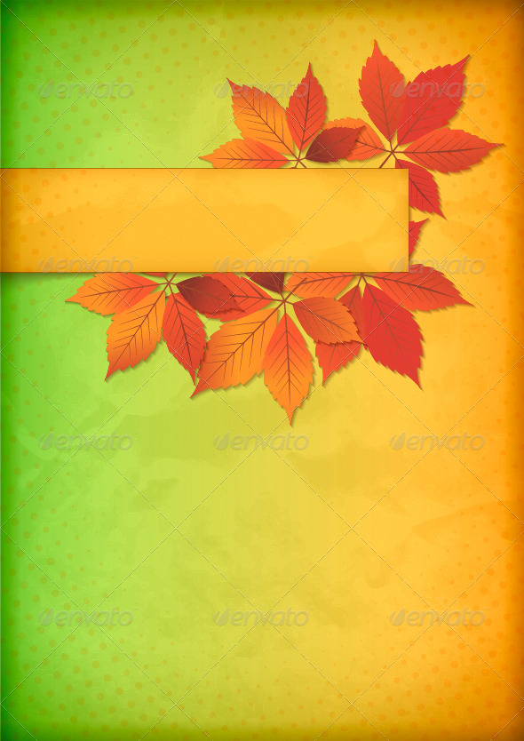 GraphicRiver Autumn Leaves on Old Crumpled Paper with Banner 4744858