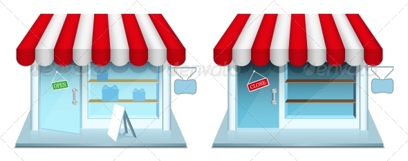 GraphicRiver Shop with Closed and Open Door 4745082