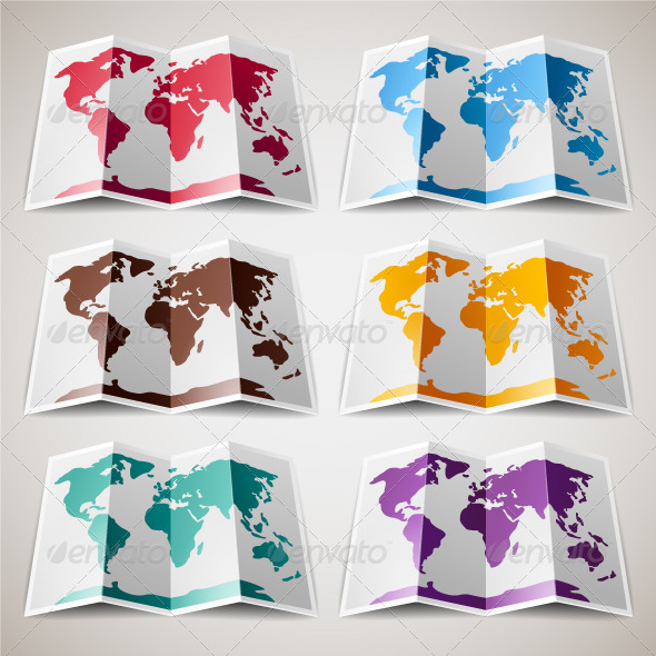 GraphicRiver Set of Colored Maps of the World 4745147