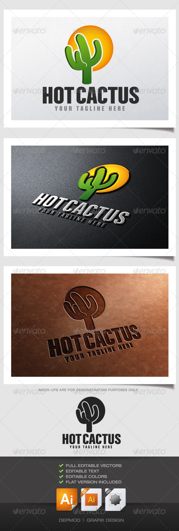 Hot Cactus Logo - Nature Logo Templates