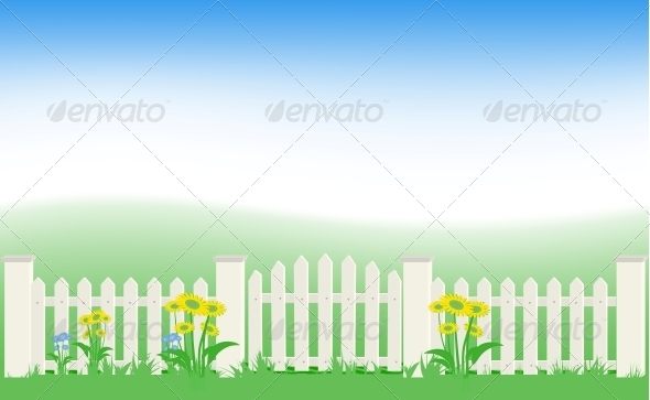 GraphicRiver Grass and Fence Under Blue Sky 4745412