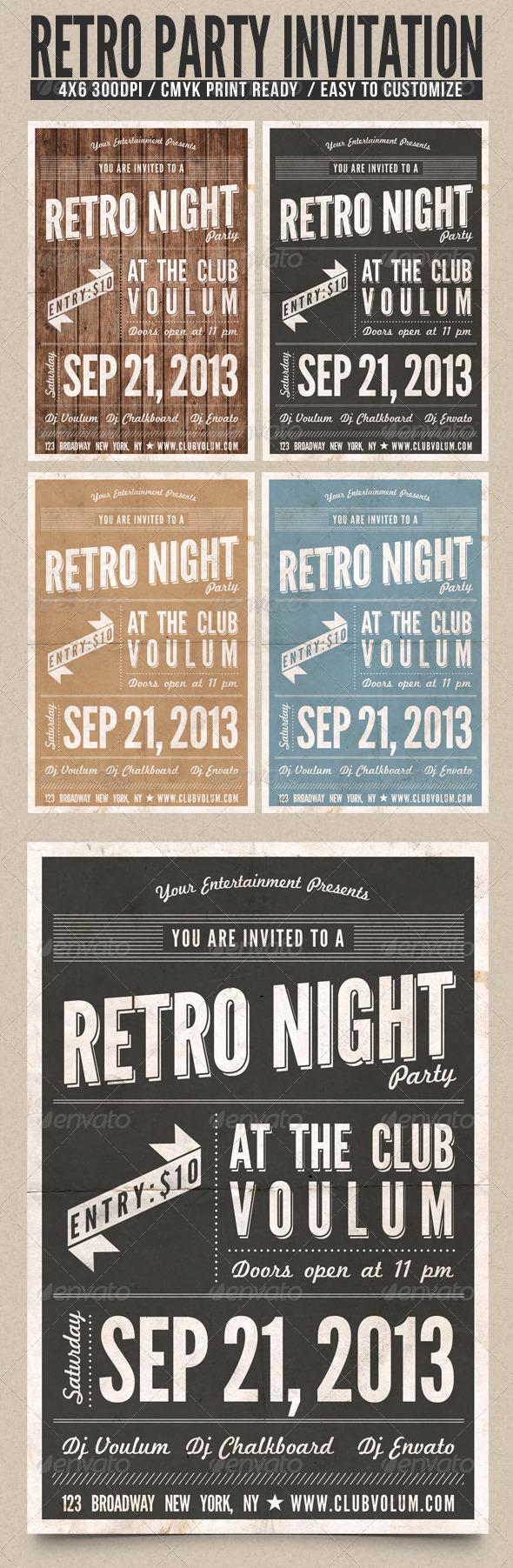 GraphicRiver Retro Night Party Flyer 4745485