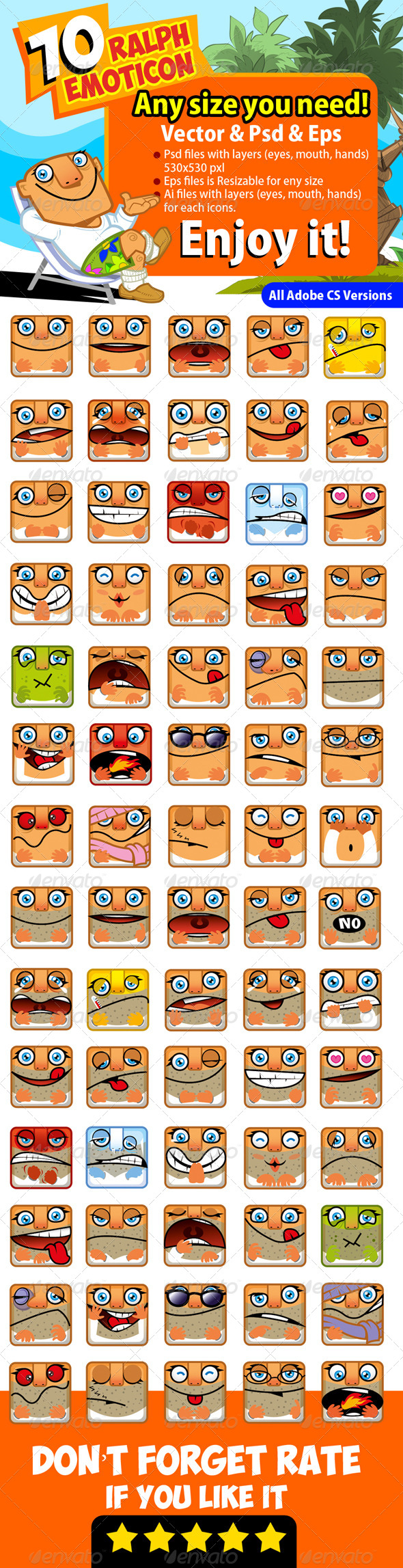 GraphicRiver 70 Ralph Emoticon Icons 4745605