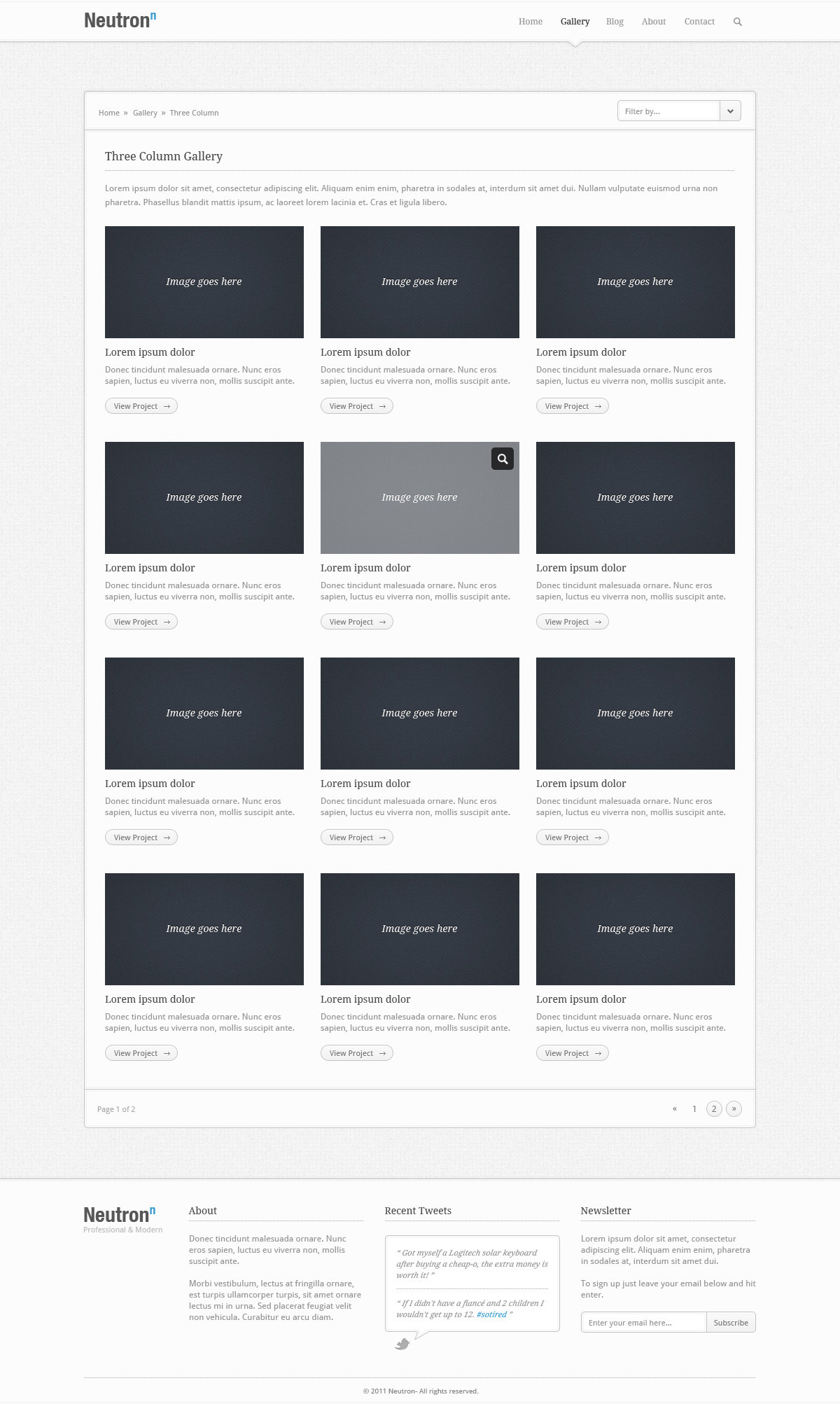 Neutron - PSD Theme - The Gallery section of the Neutron theme, containing sections for: A brief description of your work, 3 Columned Image Gallery, Pagination, plus the Header and Footer sections.