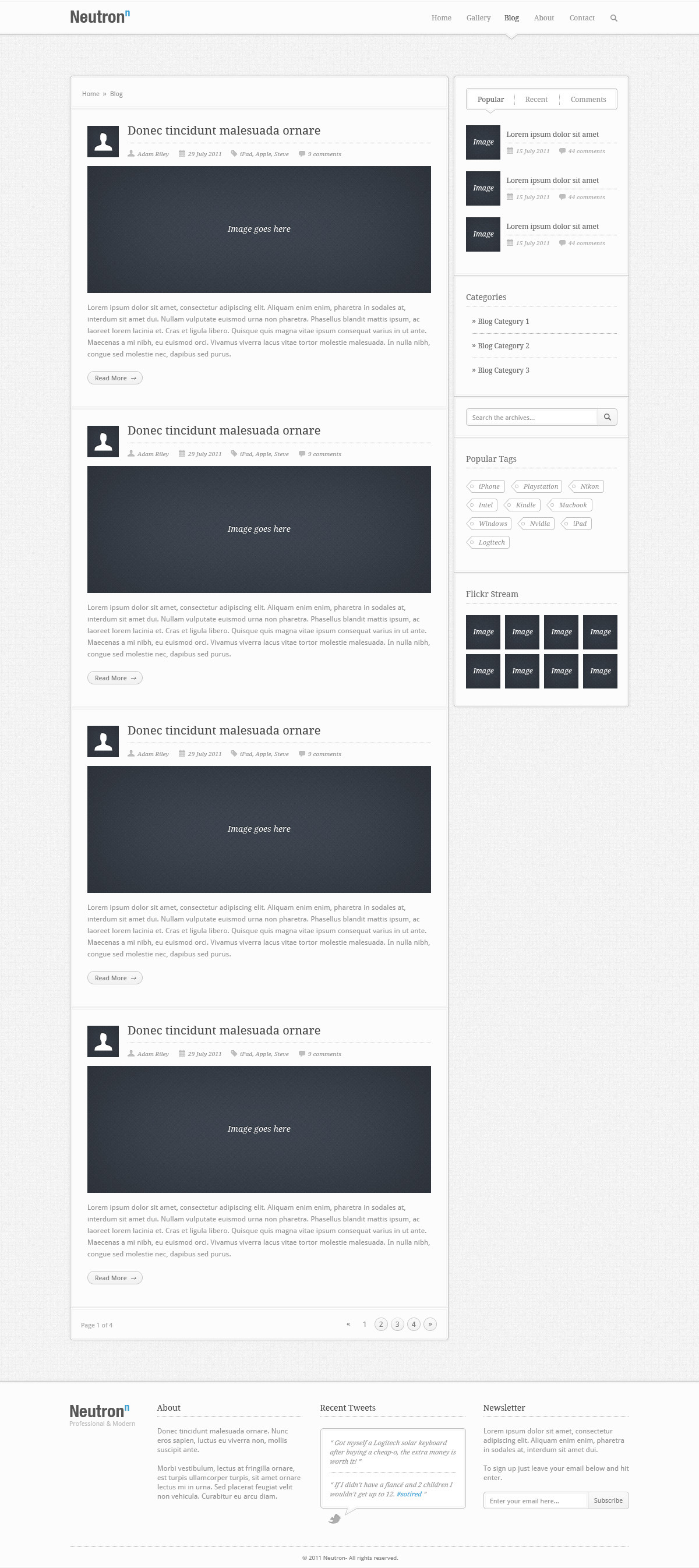 Neutron - PSD Theme - The Blog section of the Neutron theme, containing sections for: Breadcrumbs, Blog Posts, Pagination, as well as a Side Bar containing: Post Categories, Archives, Popular Tags and a Flickr Stream, plus the header and footer sections.