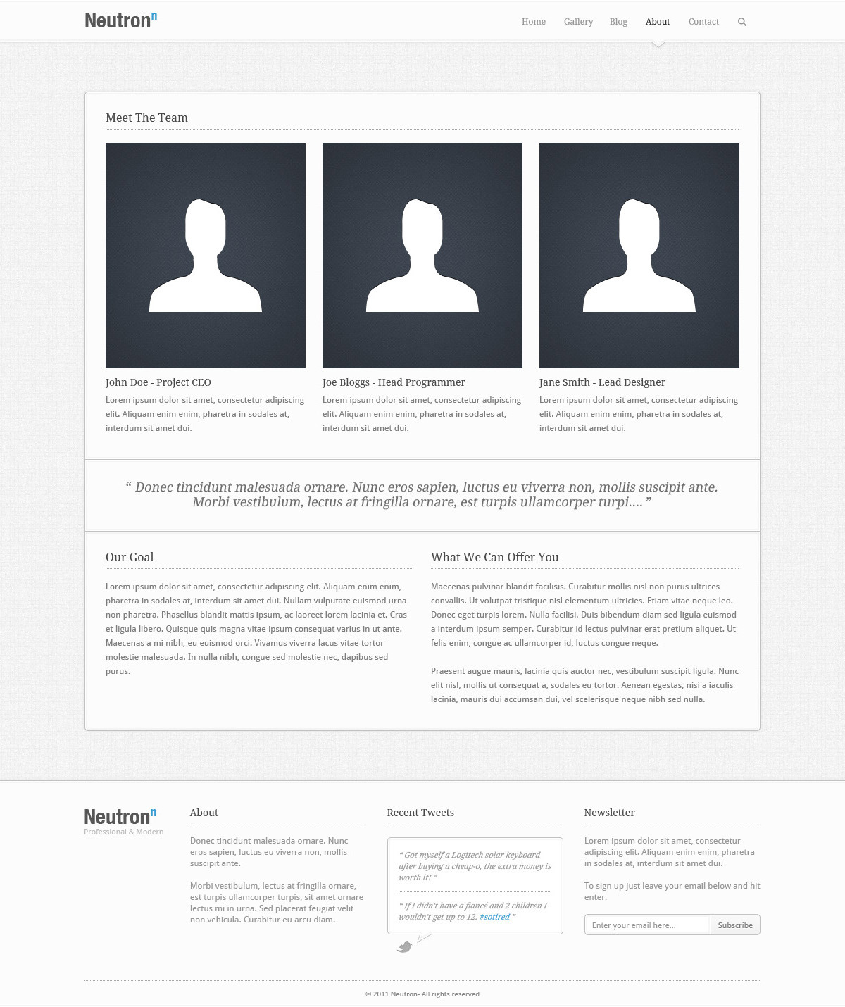 Neutron - PSD Theme - The About Us section of the Neutron theme, containing sections for: Meet The Team, A Full Width Quote, Our Goal, What We Can Offer You, plus the header and footer sections.