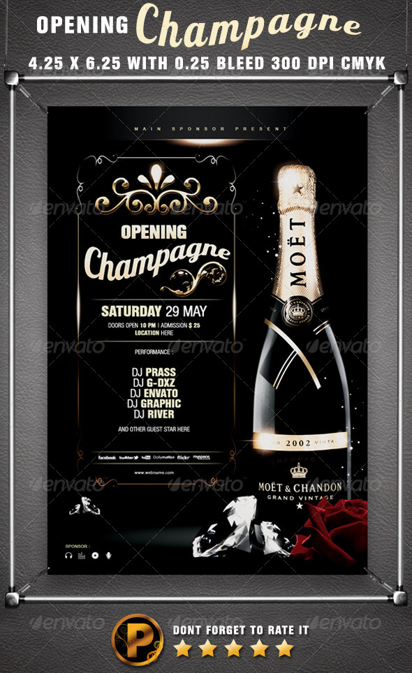 Opening Champagne Flyer Template - Clubs & Parties Events