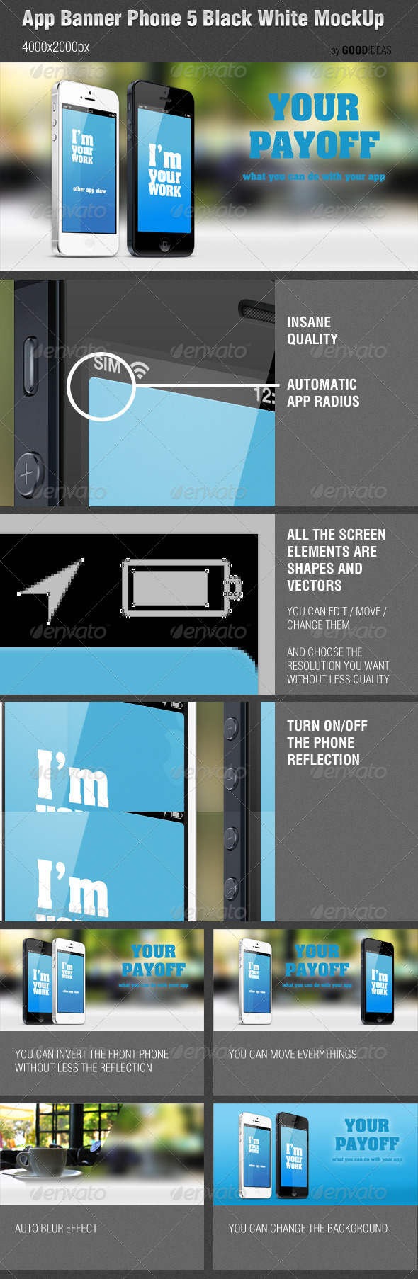 GraphicRiver App Banner iPhone 5 Black White MockUp Real Photo 4666060