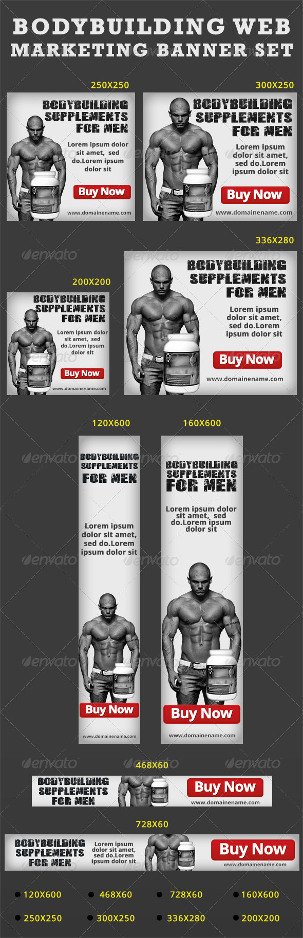 Bodybuilding Web Marketing Banner Set-White - Banners & Ads Web Elements