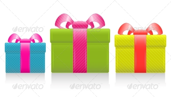 Vector gift box with silk bow