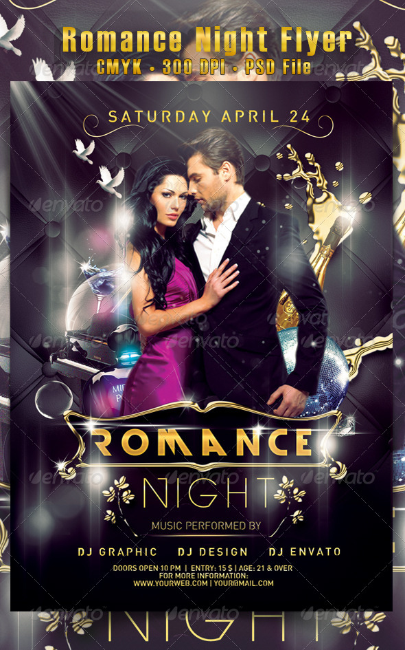 Romance Night Flyer - Clubs & Parties Events