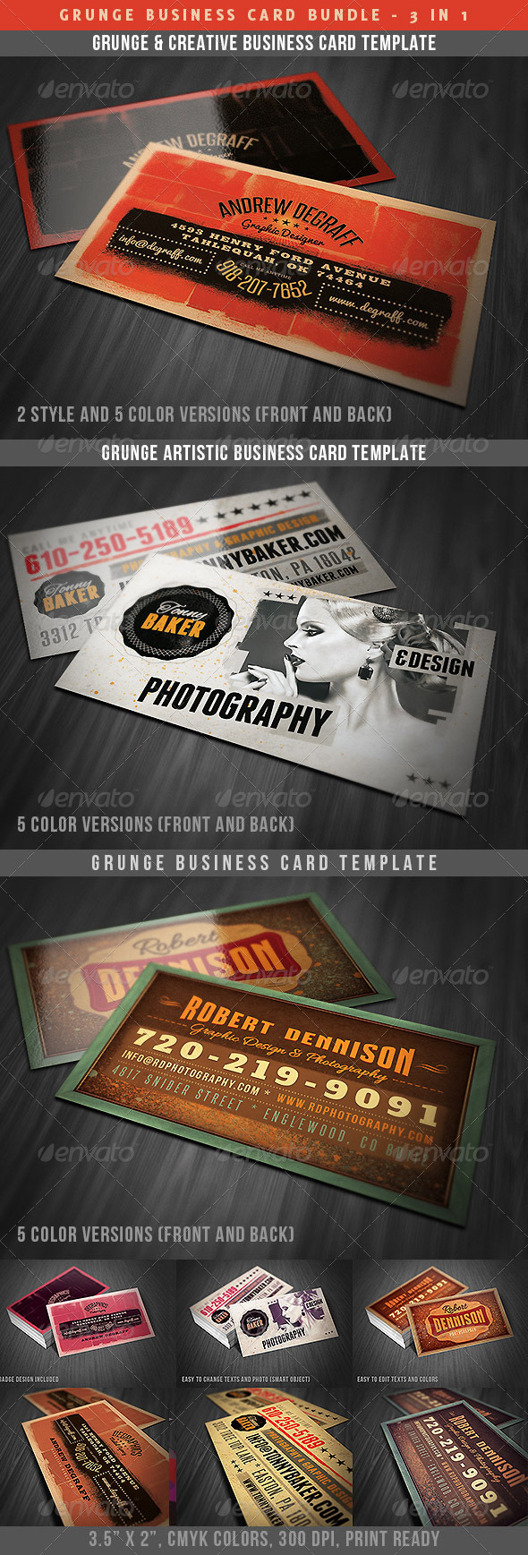 Grunge Business Cards Bundle - Grunge Business Cards