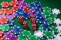 Colorful poker chips and red dice - PhotoDune Item for Sale