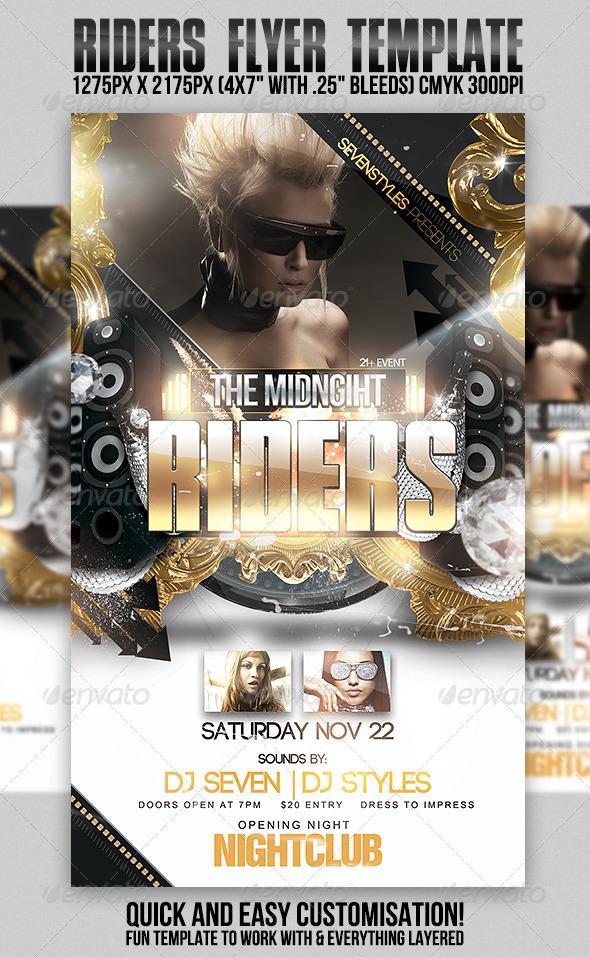 Riders Flyer Template - Clubs & Parties Events