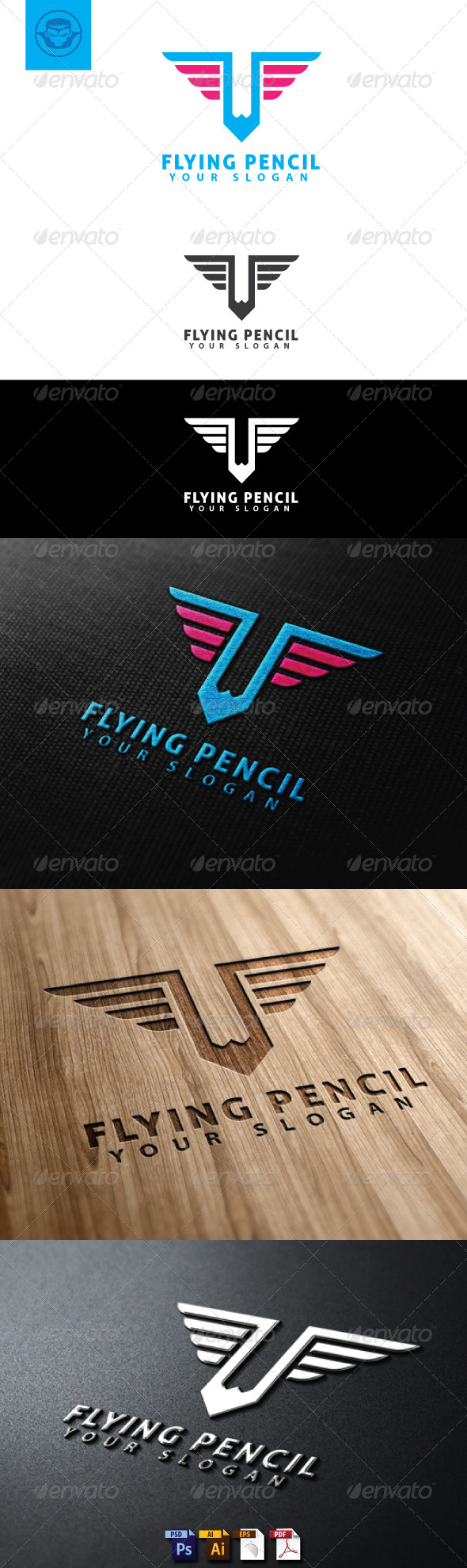 GraphicRiver Flying Pencil Logo Template 4748428