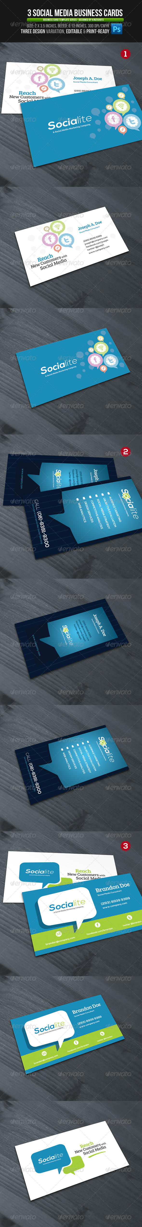 GraphicRiver 3 Social Media Business Cards 4748845