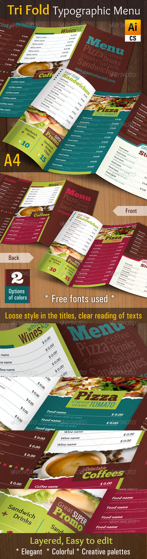 GraphicRiver Tri Fold Typographic Menu 4666268