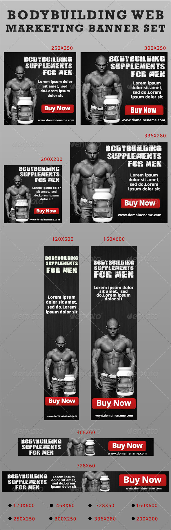 Bodybuilding Web Marketing Banner Set-Black - Banners & Ads Web Elements