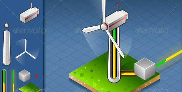 GraphicRiver Isometric Wind Turbine that Produces Energy 4750655
