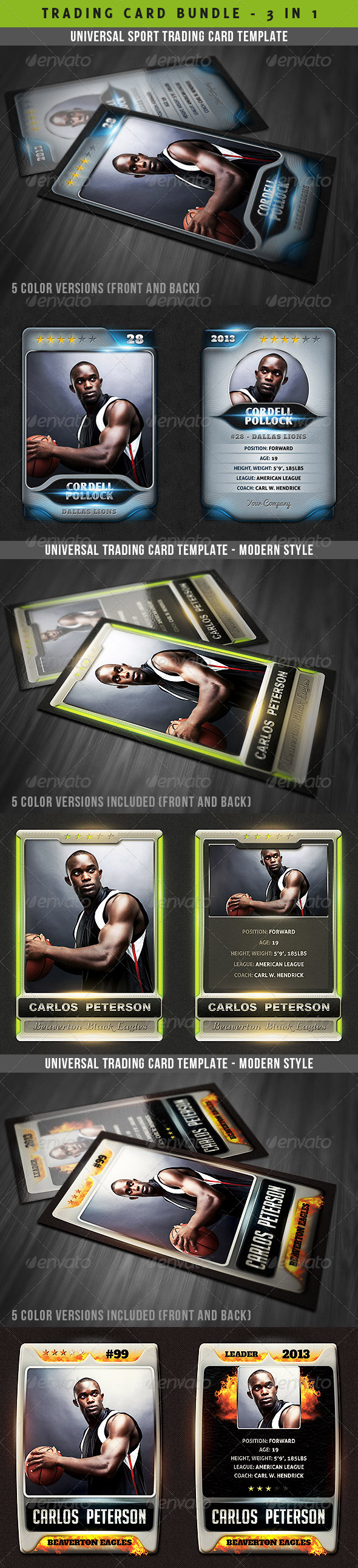 GraphicRiver Universal Sport Trading Cards Bundle 4751337