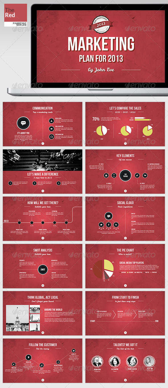 TheRed Powerpoint Template - Presentation Templates