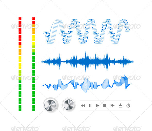 GraphicRiver Notes Buttons and Sound Waves 4294856