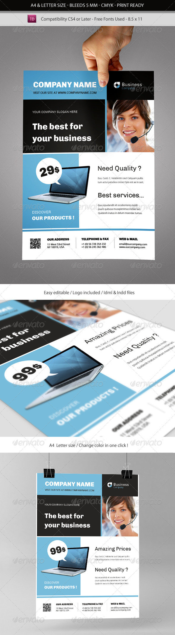 GraphicRiver Multipurpose Commerce Flyer Indesign Template 4752381