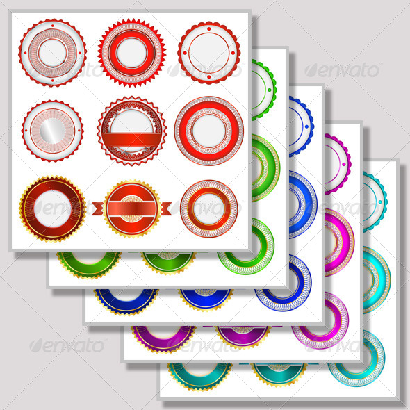 GraphicRiver Five Sets Of Badges Without Text In Various Colors 4752436