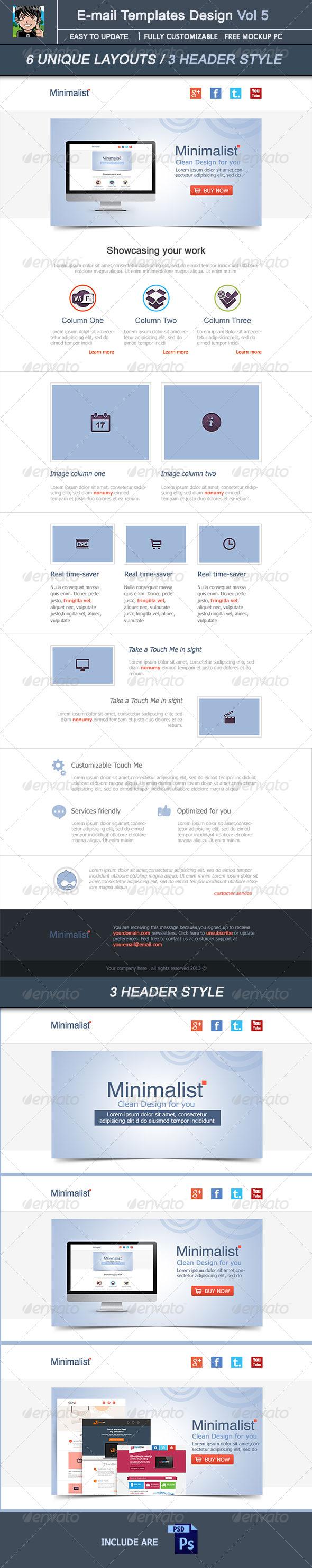 GraphicRiver Minimalist E-mail Template Design Vol 5 4753564