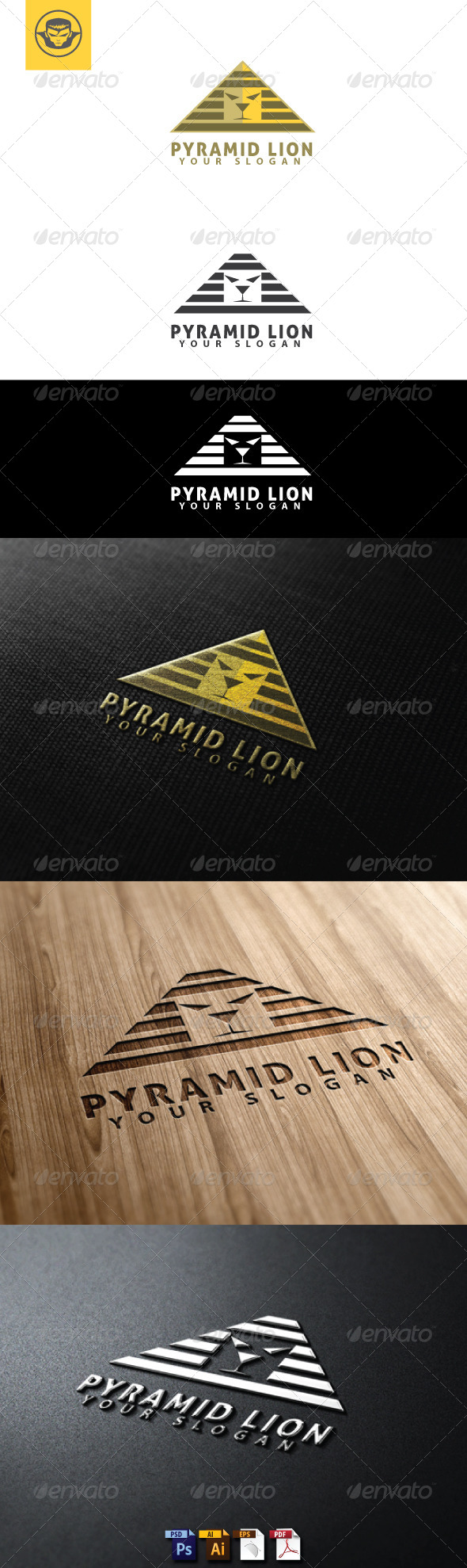 GraphicRiver Pyramid Lion Logo Template 4753575