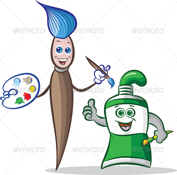 GraphicRiver Paint Tube and Paint Brush Mascots 4754244