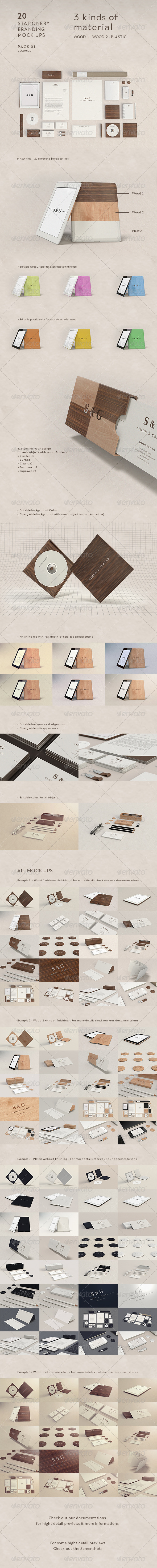 GraphicRiver Stationery Branding Mock-Up Woods & Plastic 4754874