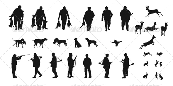GraphicRiver Set of Silhouettes of Hunters Dogs and Wildlife 4755198
