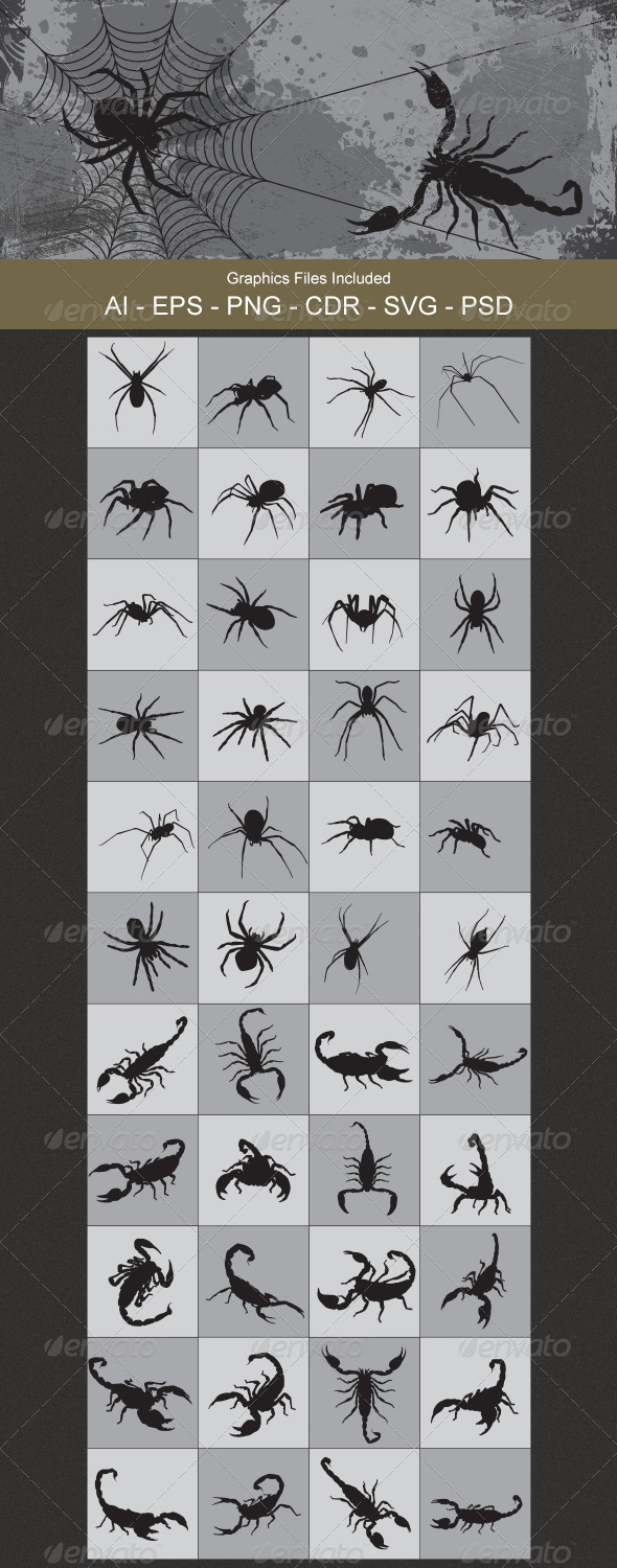 GraphicRiver Spider and Scorpion Silhouettes 4755232